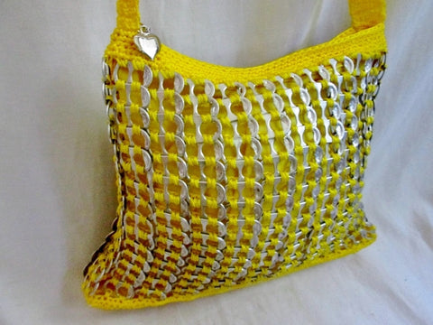 NEW Knit Woven SODA CAN POP TOP Shoulder Bag Vegan YELLOW Teen Tween Gift