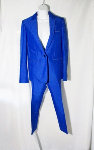 NEW NWT CELINE ITALY Set Pleated Pant Suit 36 / 4 ROYAL BLUE Formal
