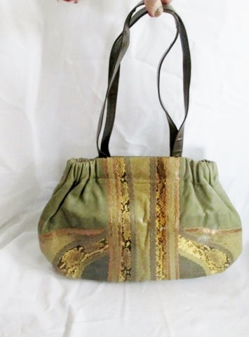 CARLOS FALCHI Leather Snakeskin Hobo Handbag Shoulder Bag Python Satchel GREEN MOSS