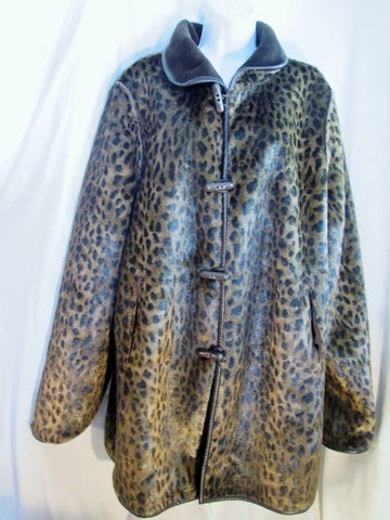 Womens DENNIS BASSO Vegan LEOPARD Faux Fur jacket coat BROWN XL