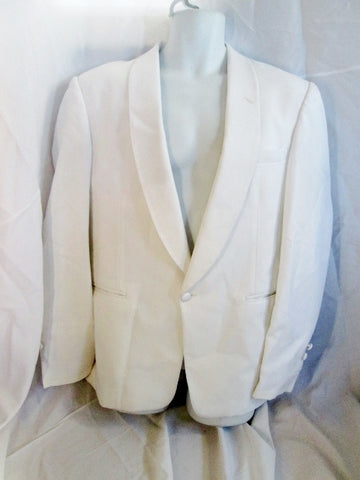Vintage 70s 80s Miami Vice After Six Tuxedo Sport Jacket Suit Blazer 40S WHITE Formal