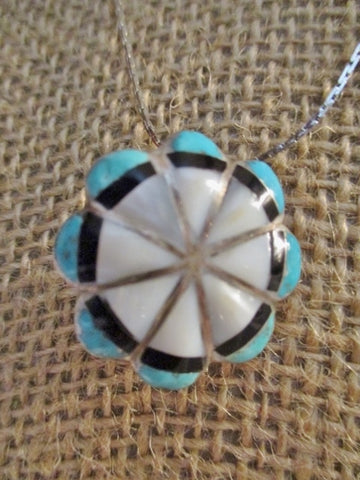 "16"" STERLING SILVER SOUTHWEST CONCHO TURQUOISE FLOWER NECKLACE Choker"