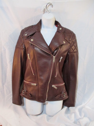 NWT New CELINE ITALY LEATHER Moto Riding jacket coat 36 4 BROWN Rocker Womens Flight Bomber