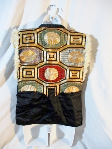 Handmade Ethnic Panel Embroidered Vest BLACK GOLD Genuinine Fur Leather WOW!