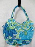 NEW VERA BRADLEY LILY DOODLE DAISY Vegan Quilted Purse Clutch Bag BLUE GREEN S