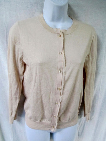 Womens Ladies J. CREW Cotton Blend Cardigan Sweater Jacket S BEIGE TAN