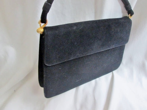 Vtg MAYER NEW YORK  Suede leather satchel clutch bag purse BLACK SWAN GOLD DUCK