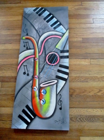 Signed 1980s ORIGINAL SAXOPHONE PIANO MUSIC NOTE ART Painting GRAY