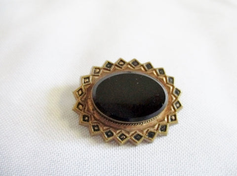 Vintage Art Deco Nouveau Style STARBURST Jet Glass Brooch Pin BRASS BLACK