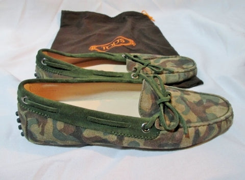 NEW Womens TOD'S ITALY Suede CAMO Driving Moccasins Shoe 36 6  Slip on Leather