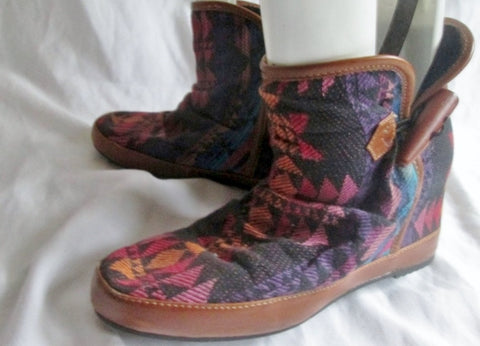 ALDO AZTEC LEATHER Tapestry ANKLE BOOT WESTERN SHOE BROWN 6 Ethnic Slouch