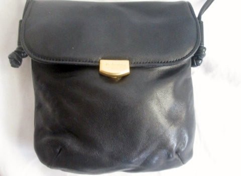 AMERICANA BY SHARIF Mini Leather Handbag Crossbody Bag Pouch BLACK Swingpack