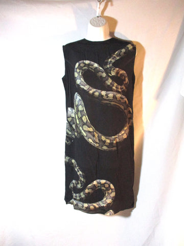 LANVIN Ete 2012 FRANCE Sleeveless PYTHON SNAKE SILK Dress 38 BLACK