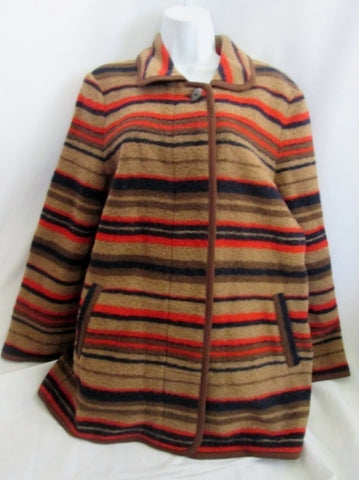 Womens J. JILL Field Barn Wool jacket coat parka M BROWN BLACK ORANGE Striped