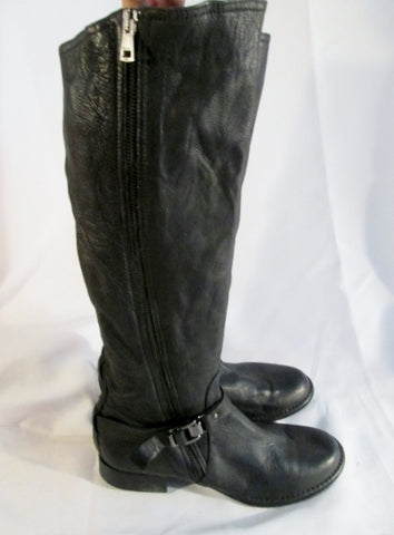 Womens ALBERTO FERMANI ITALY Leather Tall Riding Moto BOOTS Black 7 Rocker Biker