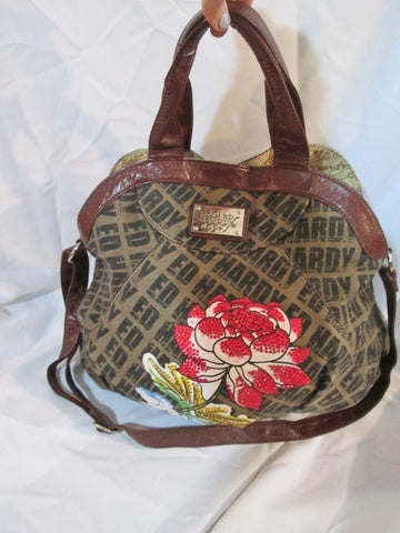 ED HARDY ROSE FLOWER Jewel Tattoo Art Tote Satchel Hobo Crossbody Brown