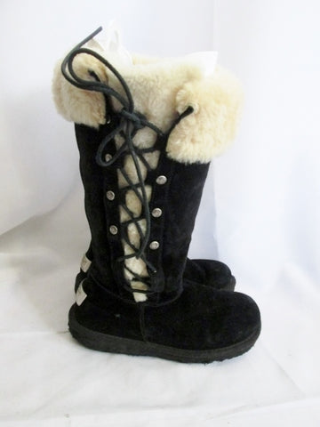 Womens Girls UGG AUSTRALIA 5163 UPSIDE Suede Winter BOOT Shearling BLACK 5 Youth