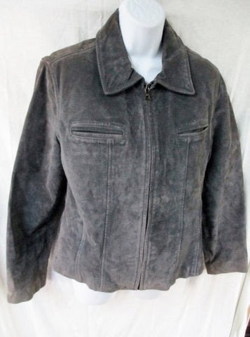Womens GUESS LEATHER suede jacket Hipster Moto Riding Coat CHARCOAL GRAY M