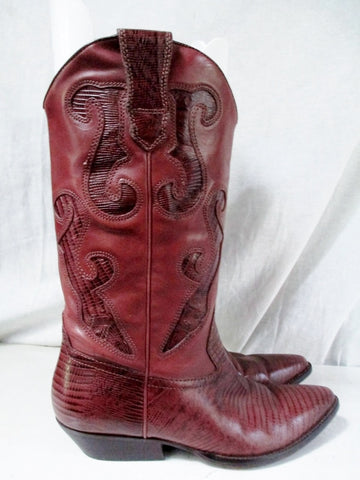 EUC Womens NINE WEST Western Cowboy Leather BOOTS SHOES 7.5 BROWN Cut Out