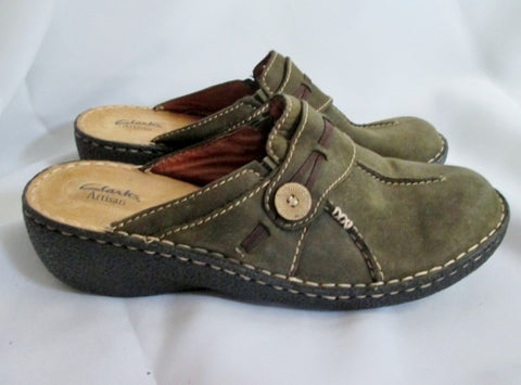 NEW Womens CLARKS ARTISAN Suede Leather Shoe Slip on CLOG 12 GREEN OLIVE