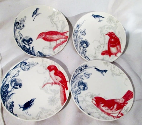 "Set 4 GILT GROUP BARREVELD MEDIUM BIRD BIRD DISH 8"" Dessert Salad Plates CHINA"