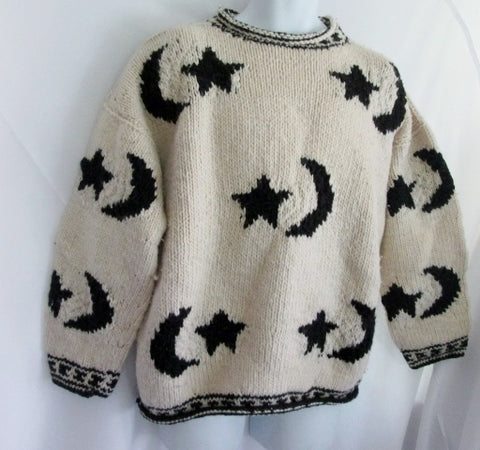 Womens WORLD CLASS INC Ecuador Wool Knit Sweater Ethnic MOON STAR WHITE L