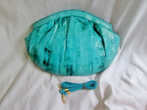 NEW NWT JASMIN Clutch Satchel Snakeskin Leather Evening Bag AQUA BLUE Hong Kong