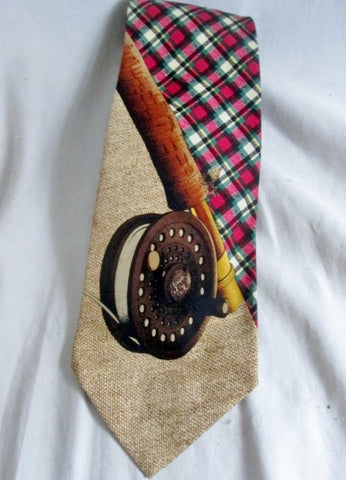 Vtg RALPH LAUREN POLO Handmade USA 100% Silk NECK TIE FLY FISHING BROWN PLAID