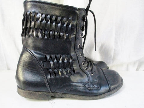 Womens RAMPAGE Faux LEATHER Ankle BOOT Lace Up Cutout Steampunk BLACK 8 Goth