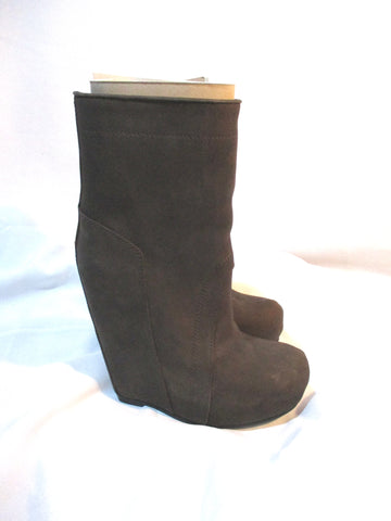 EUC RICK OWENS LEATHER WEDGE Bootie Ankle Boot 37 BROWN BITTER Shoe