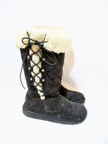 Womens UGG AUSTRALIA 5163 UPSIDE Suede Winter BOOT Shearling BLACK 10