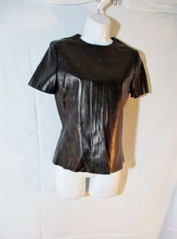 NWT New CELINE ITALY LAMBSKIN LEATHER Top Shirt 40 BLACK Short Sleeve Womens