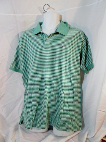 Mens VINEYARD VINES Striped POLO Shirt Top L GREEN Whale Preppy Cotton