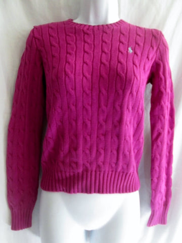 Womens RALPH LAUREN SPORT Crewneck Cable Knit Top Sweater S RASPBERRY PURPLE