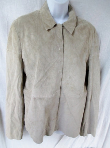 NEW Womens BANANA REPUBLIC suede leather jacket Moto Riding Coat L BEIGE OATMEAL