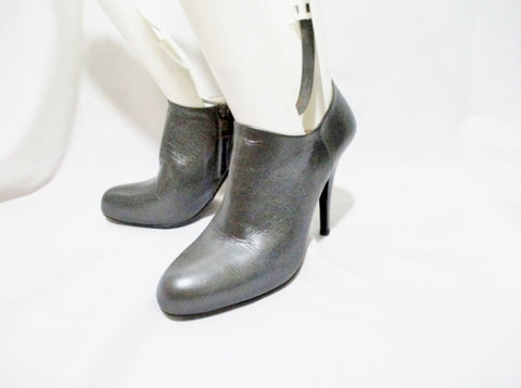 PRADA ITALY Leather Bootie Ankle Boot 36.5 6 GRAY PEWTER Heel Shoe Womens