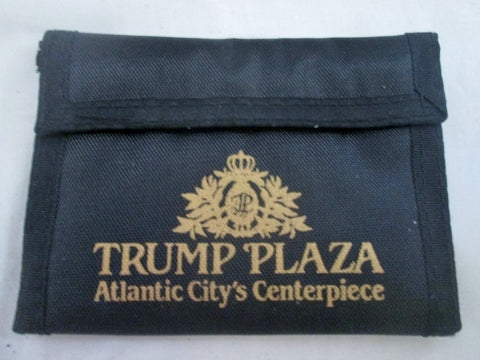 TRUMP PLAZA ATLANTIC CITY'S CENTERPIECE Nylon Bifold Wallet BLACK Organizer