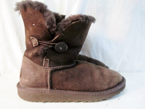 Girls Kids UGG AUSTRALIA 5991 BAILEY BUTTON Suede Winter BOOTS Shoe 3 BROWN CHOCOLATE