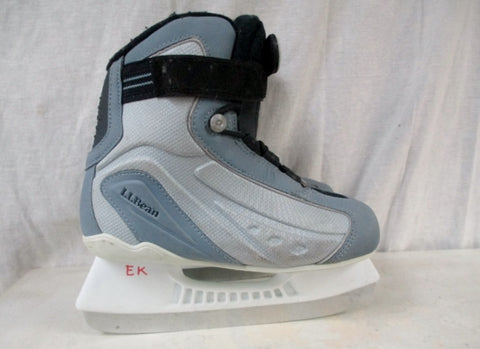Boys Girls L.L. BEAN Figure Ice Skates Hockey SILVER GRAY 4 Competition Youth
