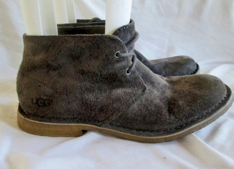 Mens UGG AUSTRALIA 1005487 LEIGHTON Suede Chukka BOOTS Shoes GRAY 10 CHARCOAL