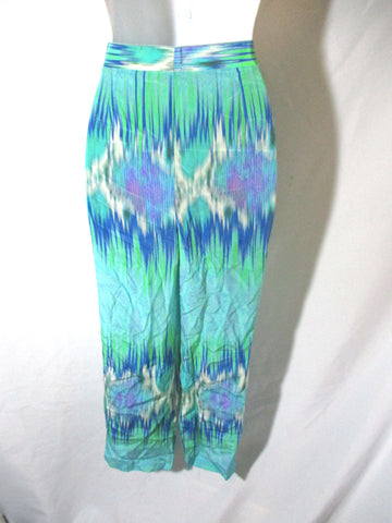 NEW MATTHEW WILLIAMSON Silk Cropped Pants 10 AQUA Blue SNAKE Trousers