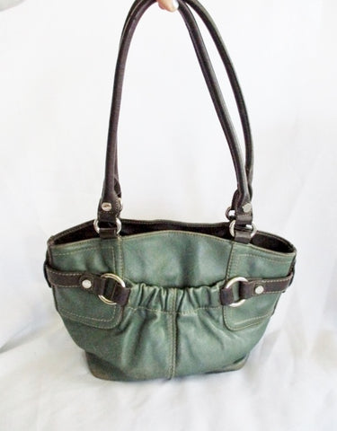 TIGNANELLO Leather Handbag Satchel Tote Harness Shoulder Bag GREEN Pockets