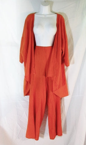 Womens OH MY GAUZE Florida 2 Pc Suit Set Pants Blazer Jacket XL ORANGE