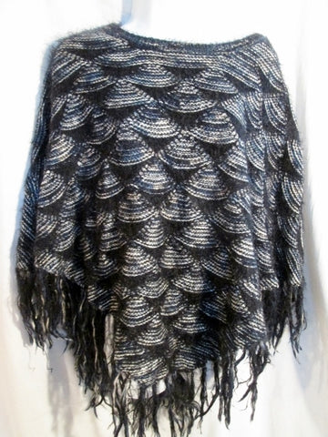 APPRAISAL Scallop Shell MERMAID Poncho Cape Jacket Hippie BLACK WHITE OS FRINGE Ethnic