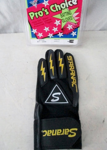 NEW Youth Boys Girls SARANAC Leather BATTING Glove BLACK M Right Hand