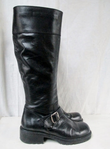 Womens J. CREW Leather HARNESS Moto Rocker BOOTS Shoes BLACK 6 Riding