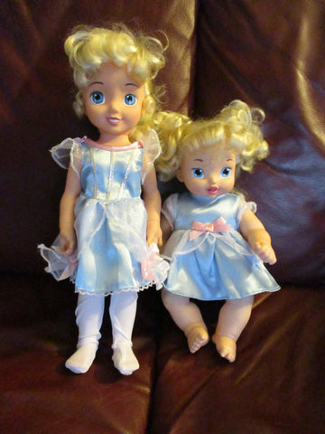 Set 2 DISNEY PLAYMATES CINDERELLA BABY DOLL Toy w Outfit Collectible