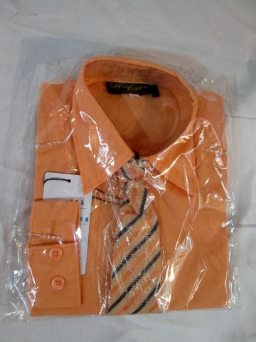 NEW Toddler BOYS RAFAEL Dress Shirt Tie Set 2T ORANGE MELON Recital Party Wedding