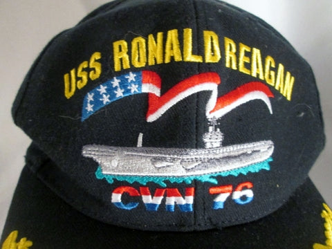 USS RONALD REAGAN CVN 76 SHIP NAVY baseball cap hat BLUE GOLD USA OS