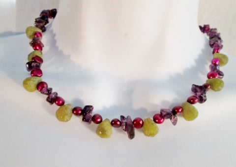 "17"" AMETHYST Stone Glass Bead Necklace Choker Collar PURPLE RED TEARDROP Green"